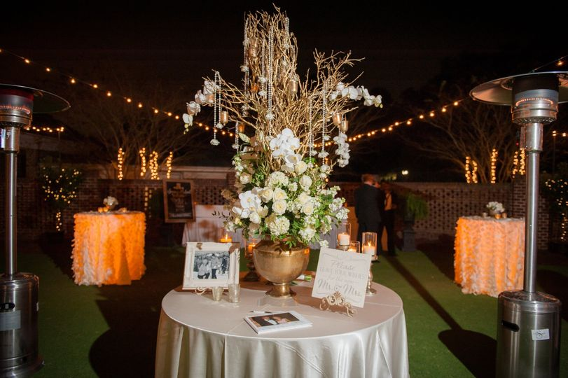 Courtyard welcome table