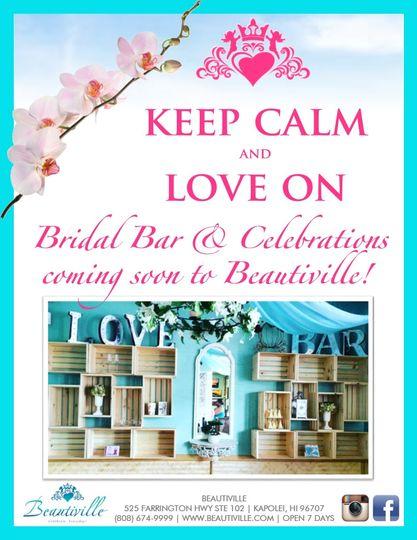 bridal bar and celebrations coming soon sign