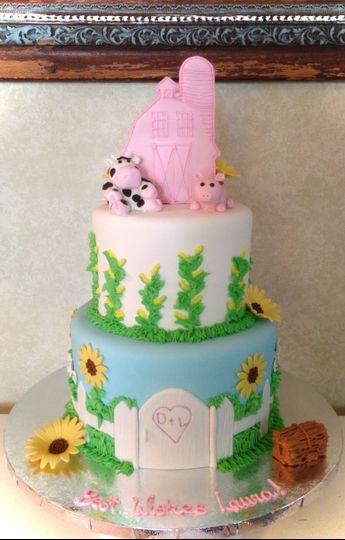 Barn Theme Bridal Shower Cake.