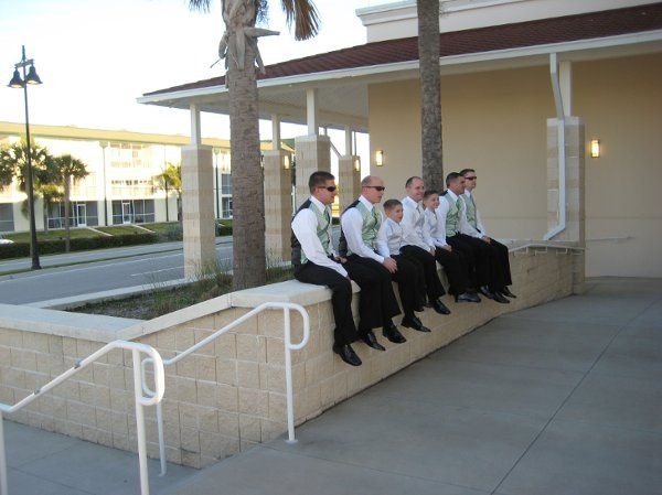 Groomsmen waiting for the ceremony to begin.