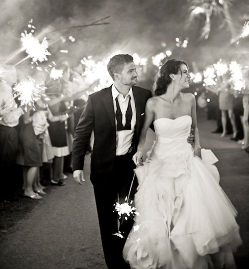 Bride and groom being sent off with sparklers at our Ojai Wedding