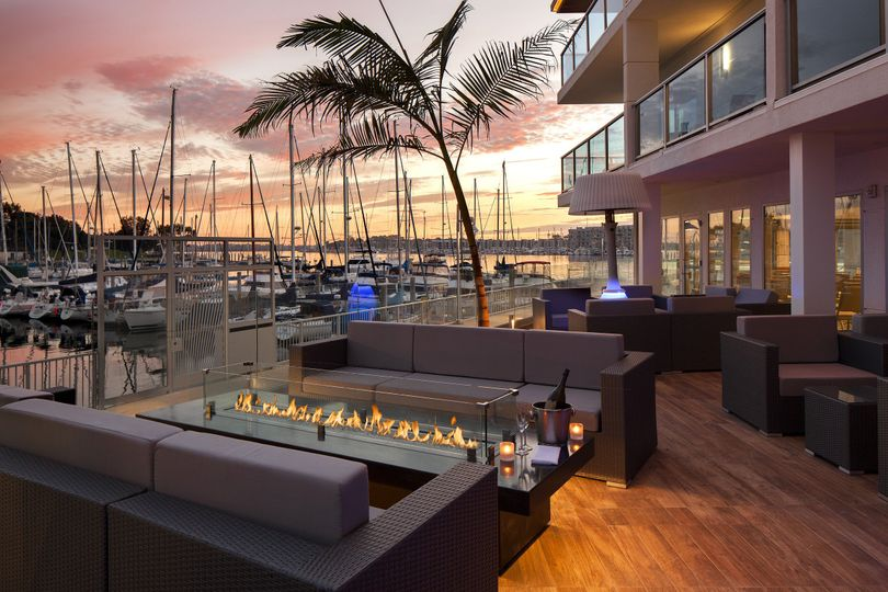 Salt patio with marina view