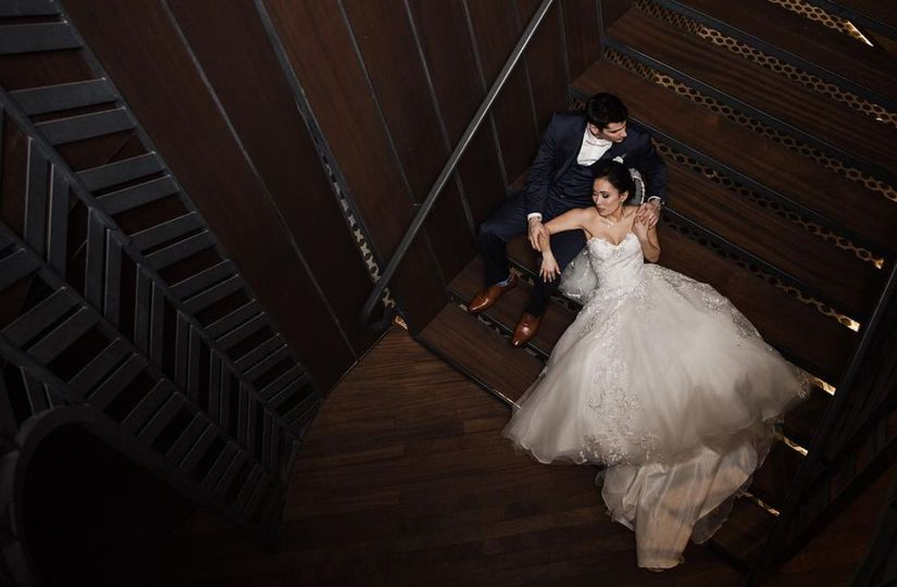 Couple photo by the stairs