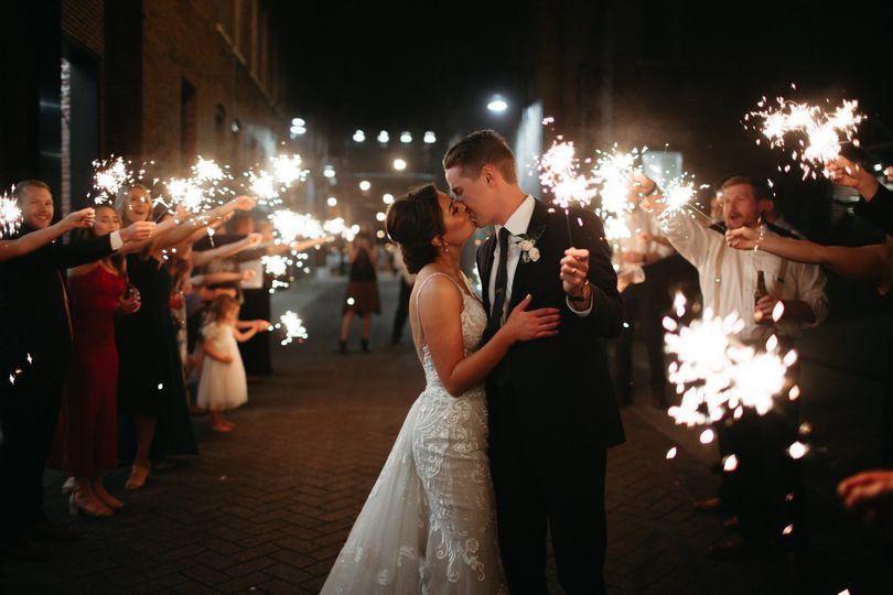 Romantic sparkler exit