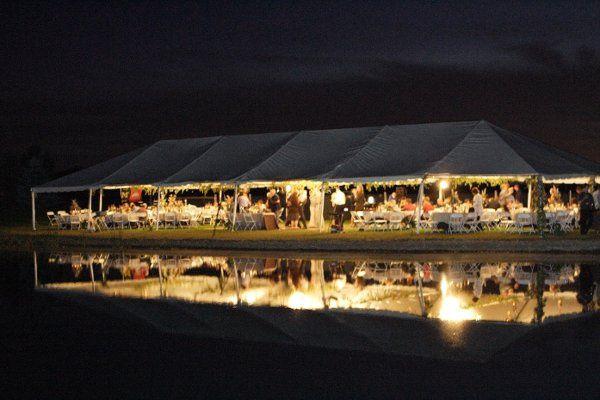 Tent setup at night