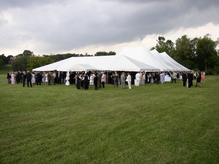 Guests crowding the tent