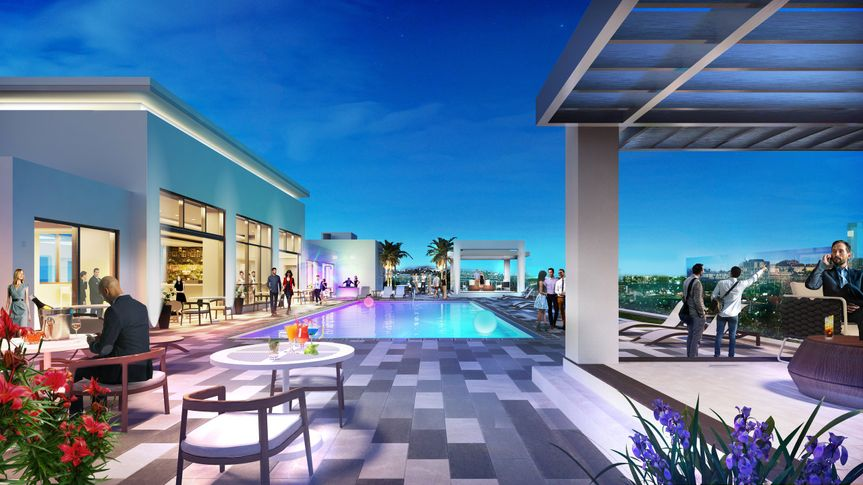 The rooftop pool and bar