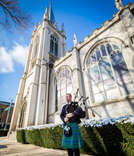 Bagpiper at church