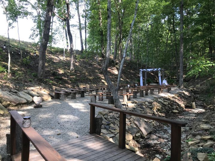 The ravine set up for a ceremony