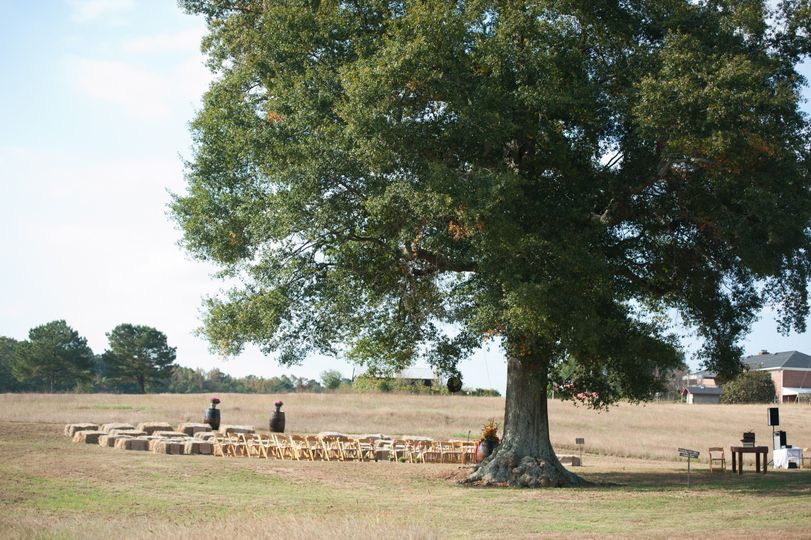 The ceremony site before the guests arrived at the Red Tin Barn.
