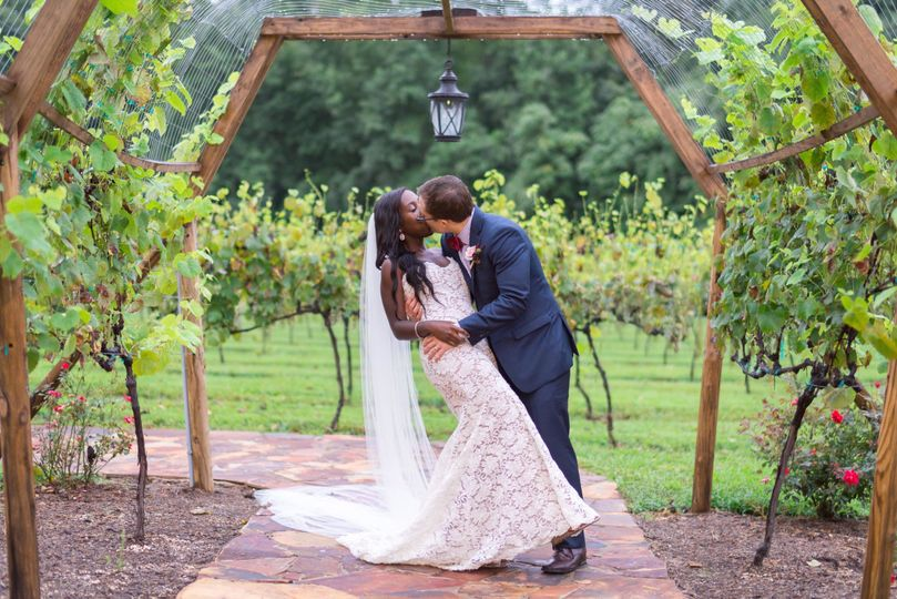 Groom kissing his bride in the vineyard