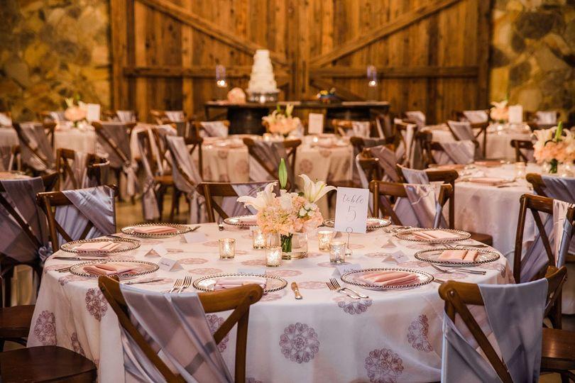 Glamorous Barn Reception Setup