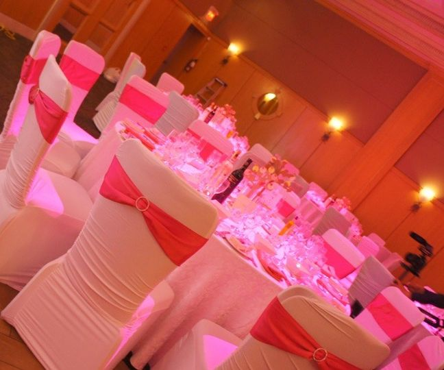 Pink lights and chair decor
