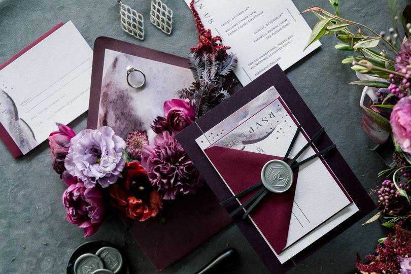 fall burgundy purple silver foil wedding invitations seventhandanderson 51 1067901 161096627323867
