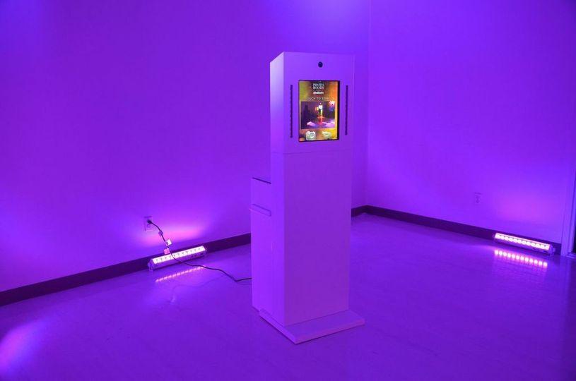 kiosk lit up deep purple