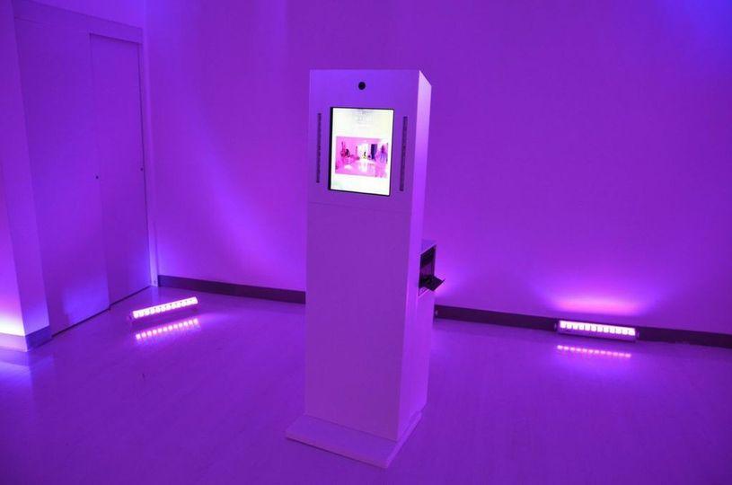 kiosk lit up pink
