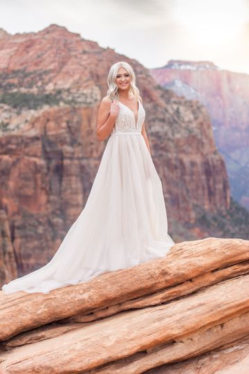 Zion canyon overlook bride