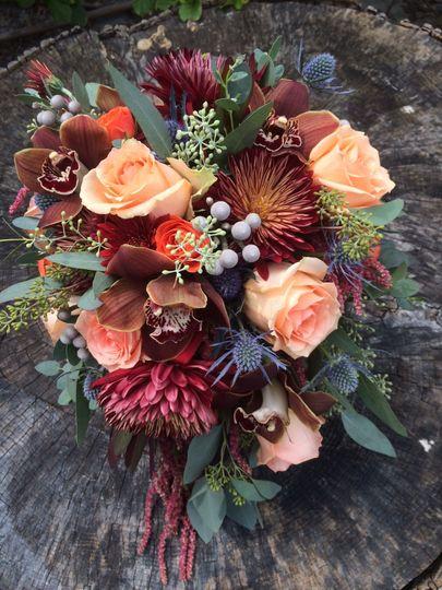 Dark colored flower bouquet