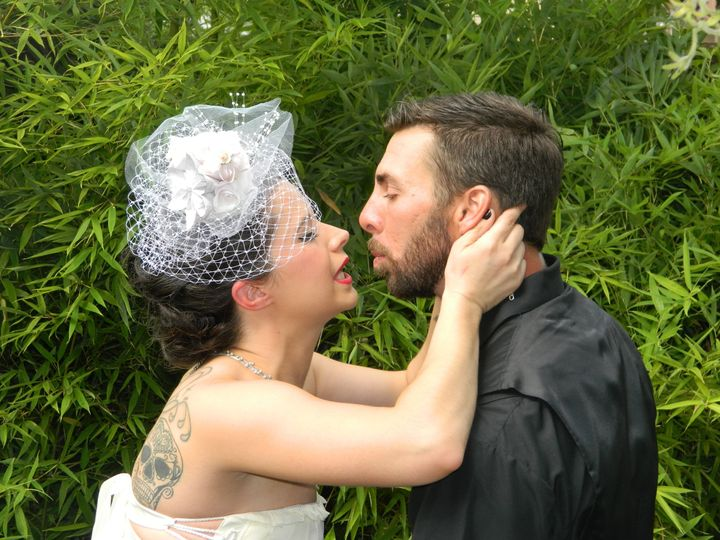 Bride about to kiss her groom