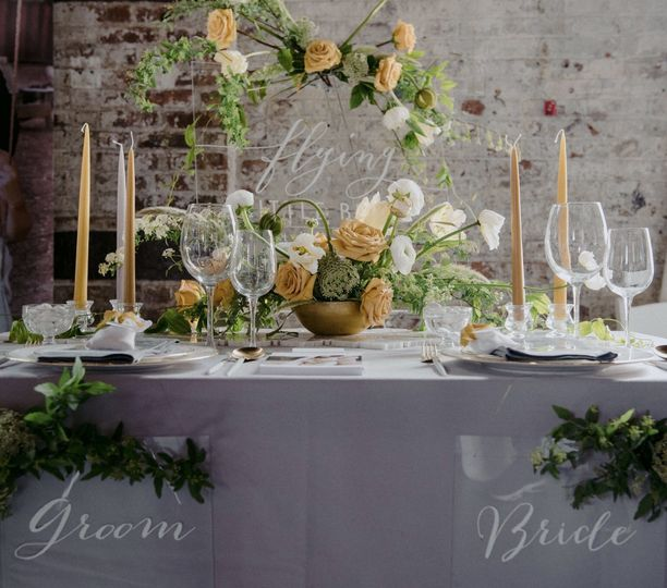 Yellow and Grey Table Setting