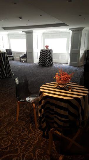 Round table with centerpiece