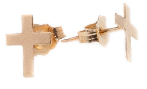 Yellow gold cross earrings