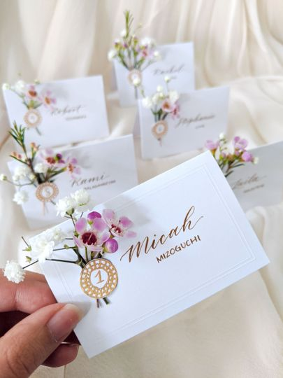 Escort Cards with florals