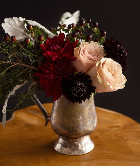 Vintage silver vase & blooms