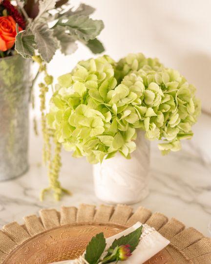 Hydrangeas in marble vase