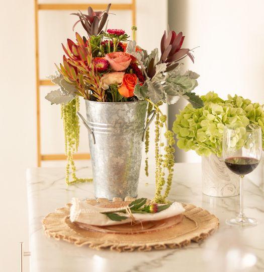 Resting bridal bouquet