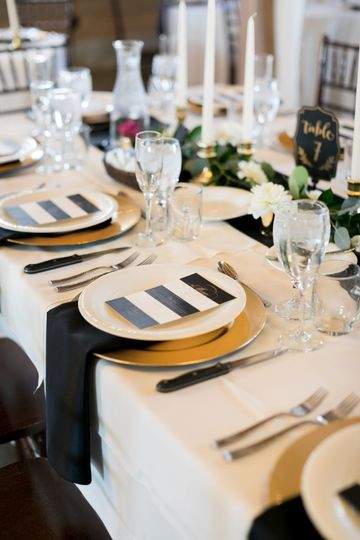Black and Gold Elegant TablescapePhotographer: Amy Caroline PhotographyFlorist: Wildflower Floral