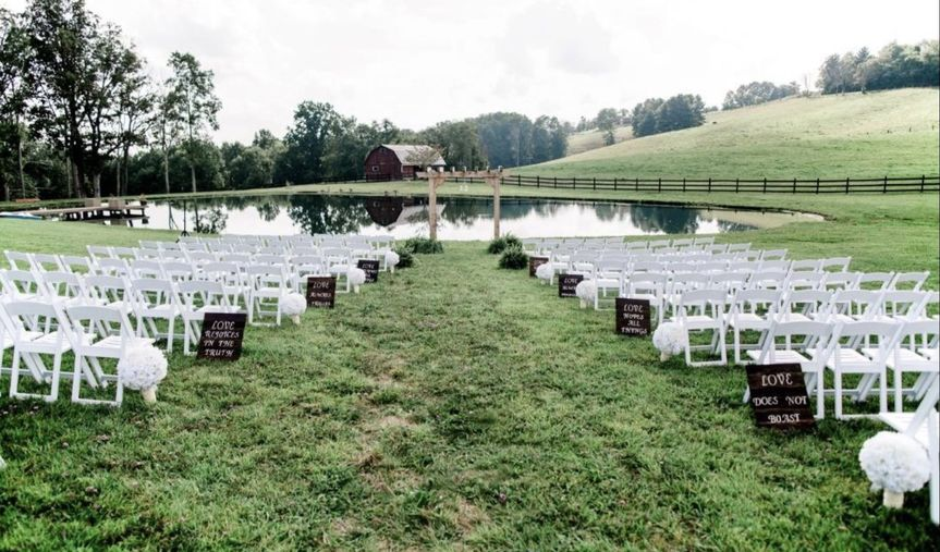 Signs chairs and Arbor provided by Little Acre Farm.