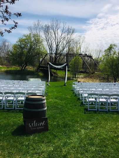 Rustic outdoor wedding setup