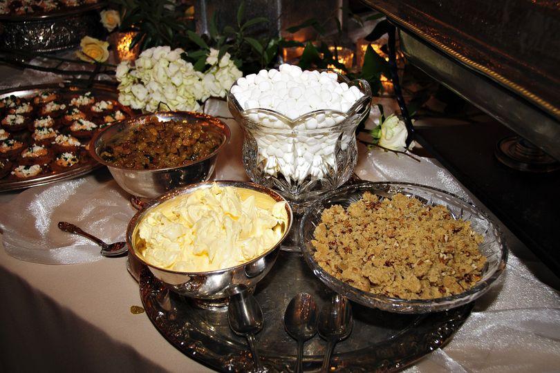 Toppings for Sweet Potato Bar (marshmallows, brown sugar-pecan mixture, butter, golden raisins)