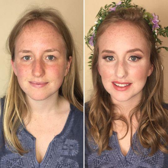 "Bridesmaid makeup, ""soft glam."""