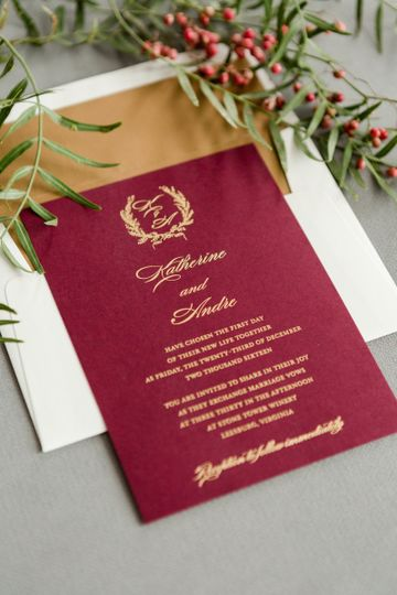 Deep red invitations