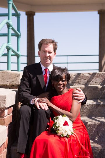 Happy husband and wife after their wedding!