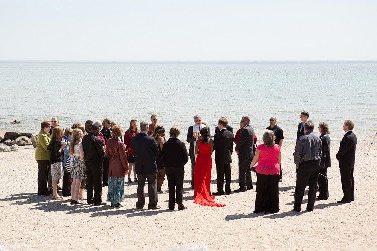 Gathered on the beach for this Lake Michigan wedding.