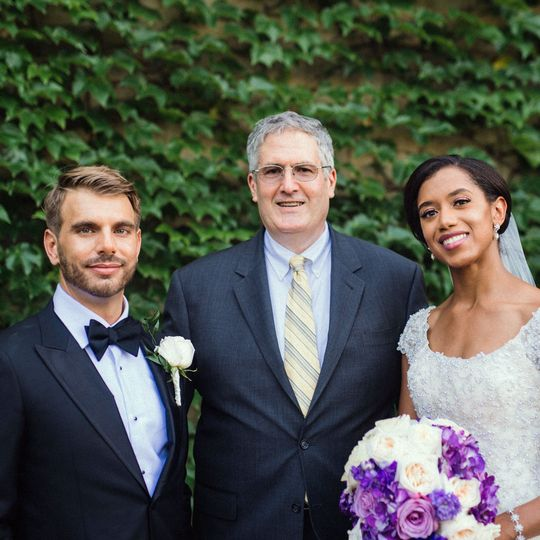 Posing with Bride and Groom after the wedding, outside the Rockefeller Chapel..
