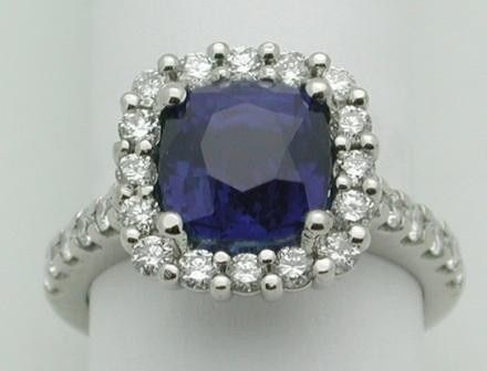 One of the finest sapphires with a diamond shank and diamond halo, in platinum.