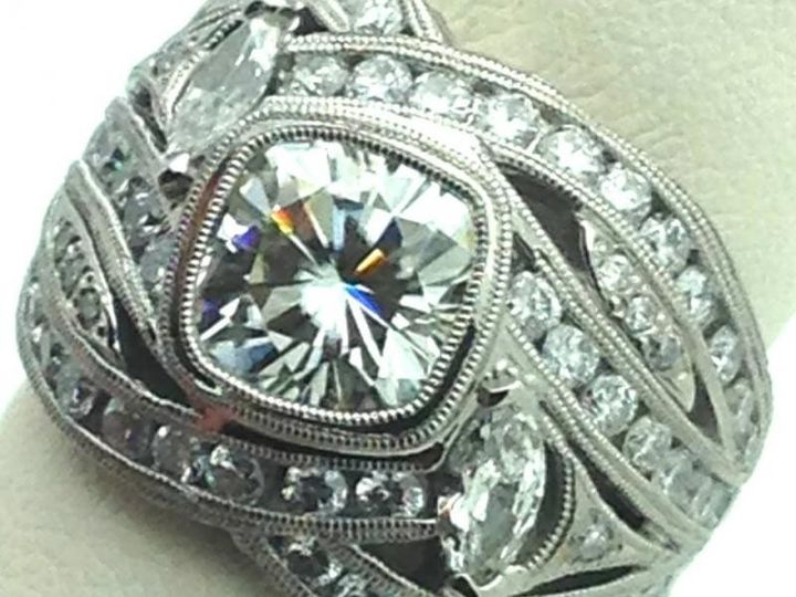 Very involved fancy ring made from customer drawings and 3 other ring designs taking elements from...