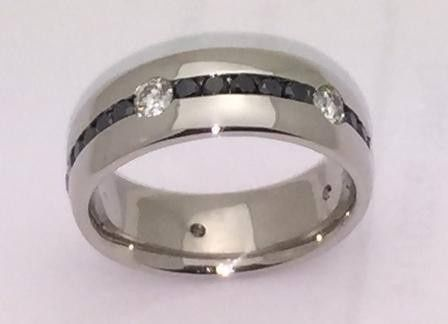 Gents custom made black and white diamond band. Customer concept our design.