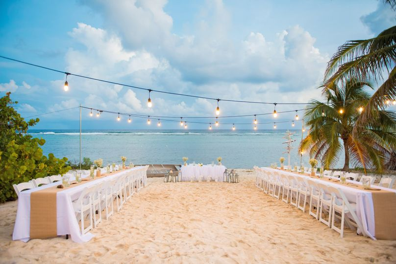 Outdoor wedding reception setup