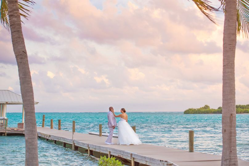 Newlyweds on a beautiful dock