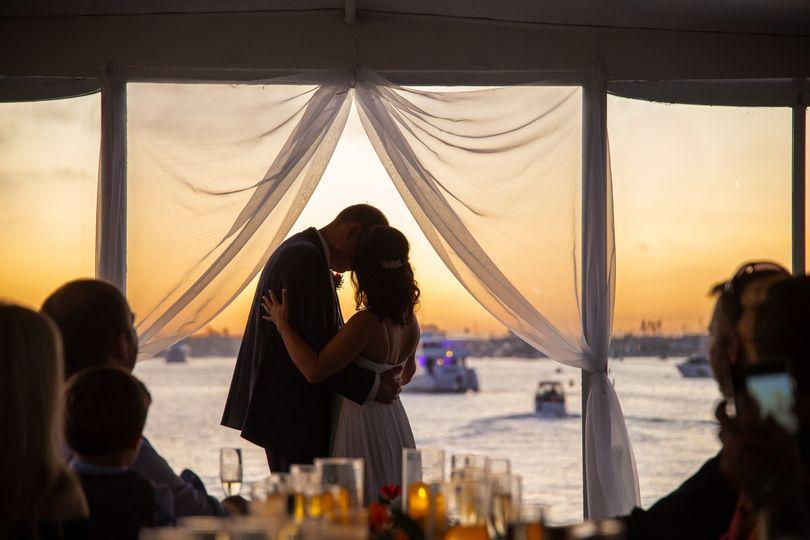 Kiss at Sunset and Sea
