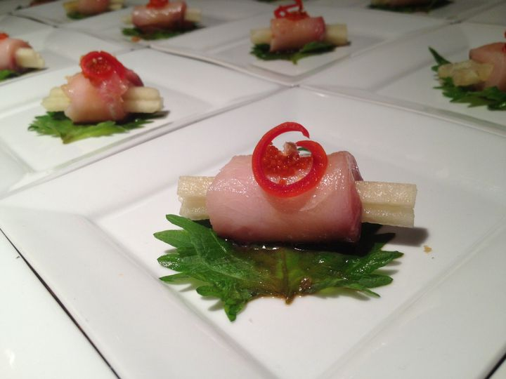 Fresh Hamachi with Yuzu Vinaigrette and Fresh Pear