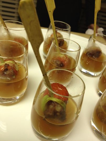 Cherry Tomato Stuffed Oxtail Shooters