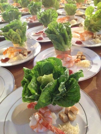 Bouquet of Caesar Salad and Poached Prawns