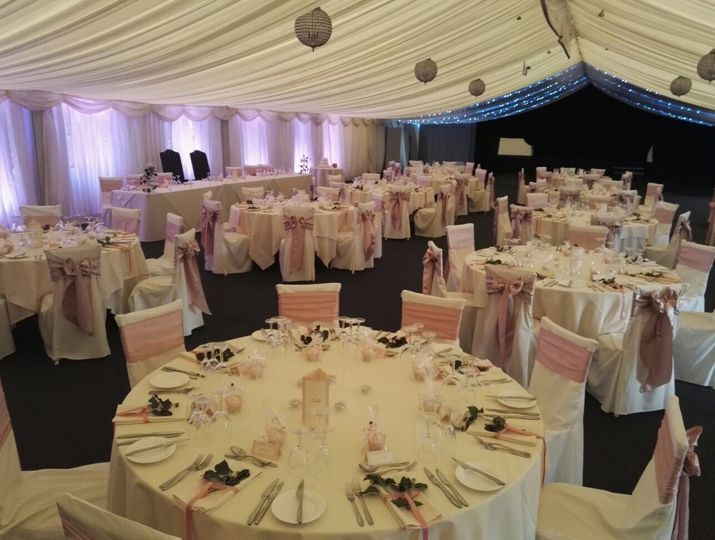 A white and pink reception