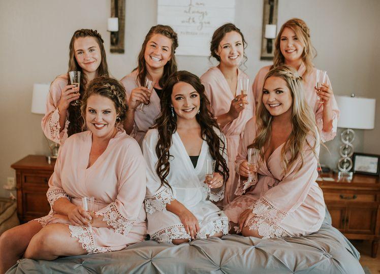 Bridesmaids on wedding day
